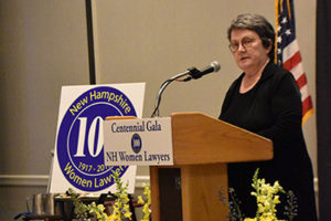 Chief Justice Linda Stewart Dalianis speaks to attendees at the first 100 years of women in the legal profession in New Hampshire on on June 1, 2017.