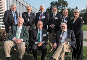 NHBF Past Chairs, left to right, standing: Tom Richards, Hon. Philip Hollman (ret.), Russell Hilliard, Paul Chant, Kevin Devine and Emily Rice; seated: Paul McEachern, Jack Middleton and Charles DeGrandpre.