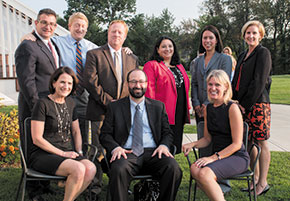 Recipients of the Kirby award. Left to right, standing: Jim Tenn, Dan Feltes, Hon. Joseph Laplante, Mary Tenn, Holly Haines, and Jaye Rancourt; seated: Diane Murphy Quinlan, Rory Parnell, and Jennifer Parent.