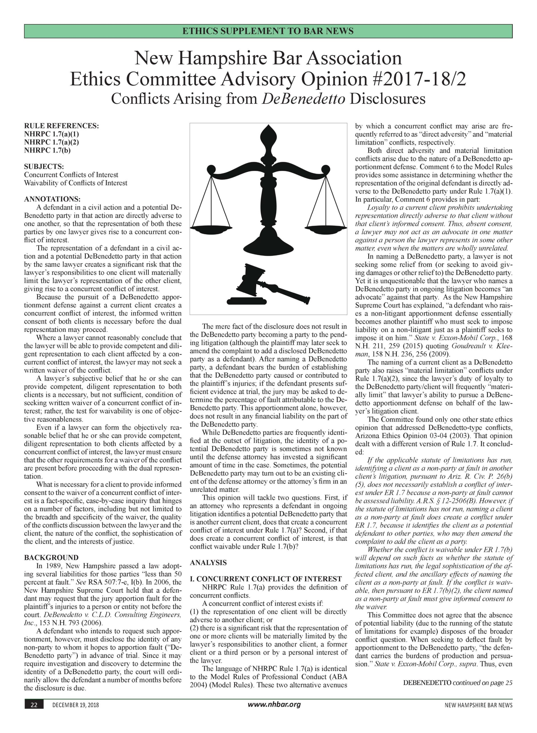 Bar News ~ Ethics & the Practice of Law 2018
