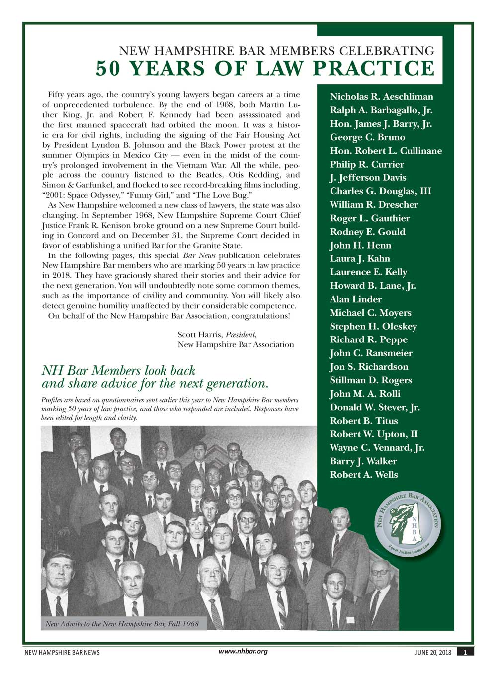 Bar News ~ 50 Years of Law Practice, June 2018