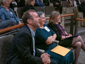 From left, Angus Fredenburg, Hilary Thomson (son and wife of award recipient Thomas A. Fredenburg) and Virginia Martin, director of the NH Pro Bono Program.