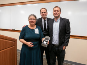 UNH Franklin Pierce School of Law and the NH Bar Association recently presented its 8th annual Bruce E. Friedman award posthumously to Thomas A. Fredenburg. Fredenburg's wife, Hilary Thomson, and their son, Angus, with the Bruce E. Friedman received the award in his memory award.