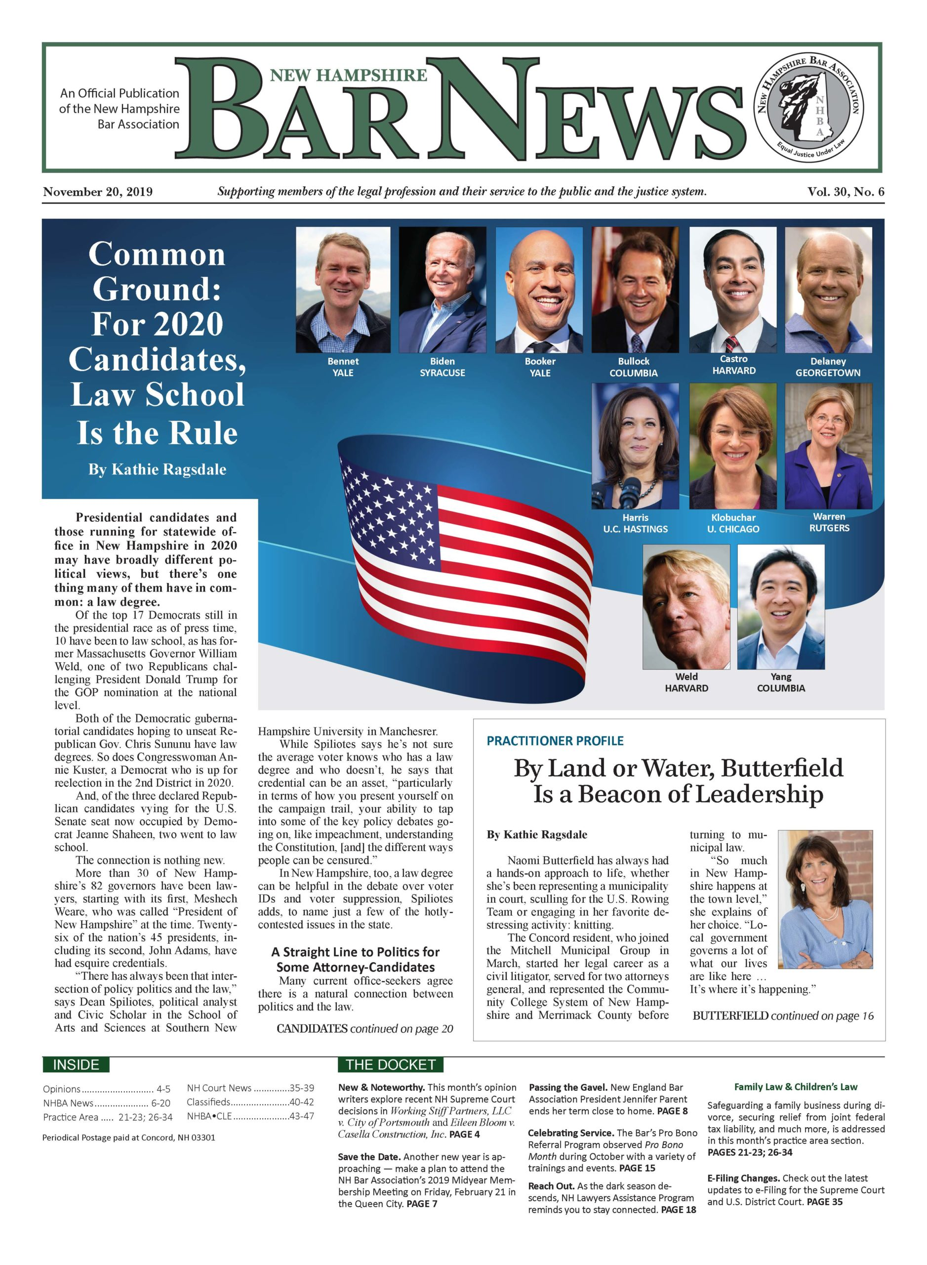 Front page of the NH Bar News November 20, 2019