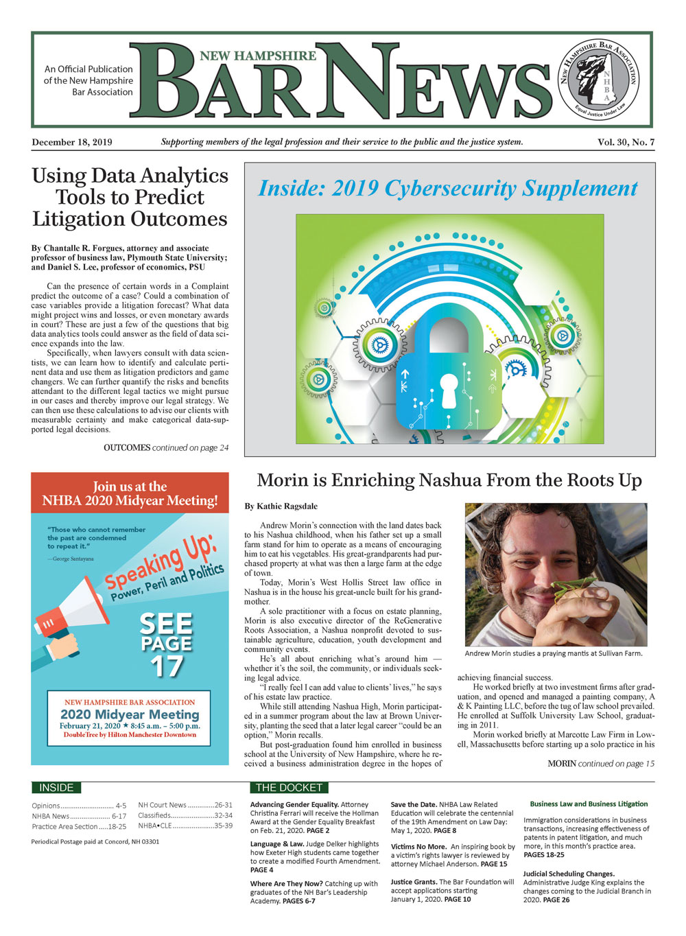 Front page of the Bar News December 18, 2019