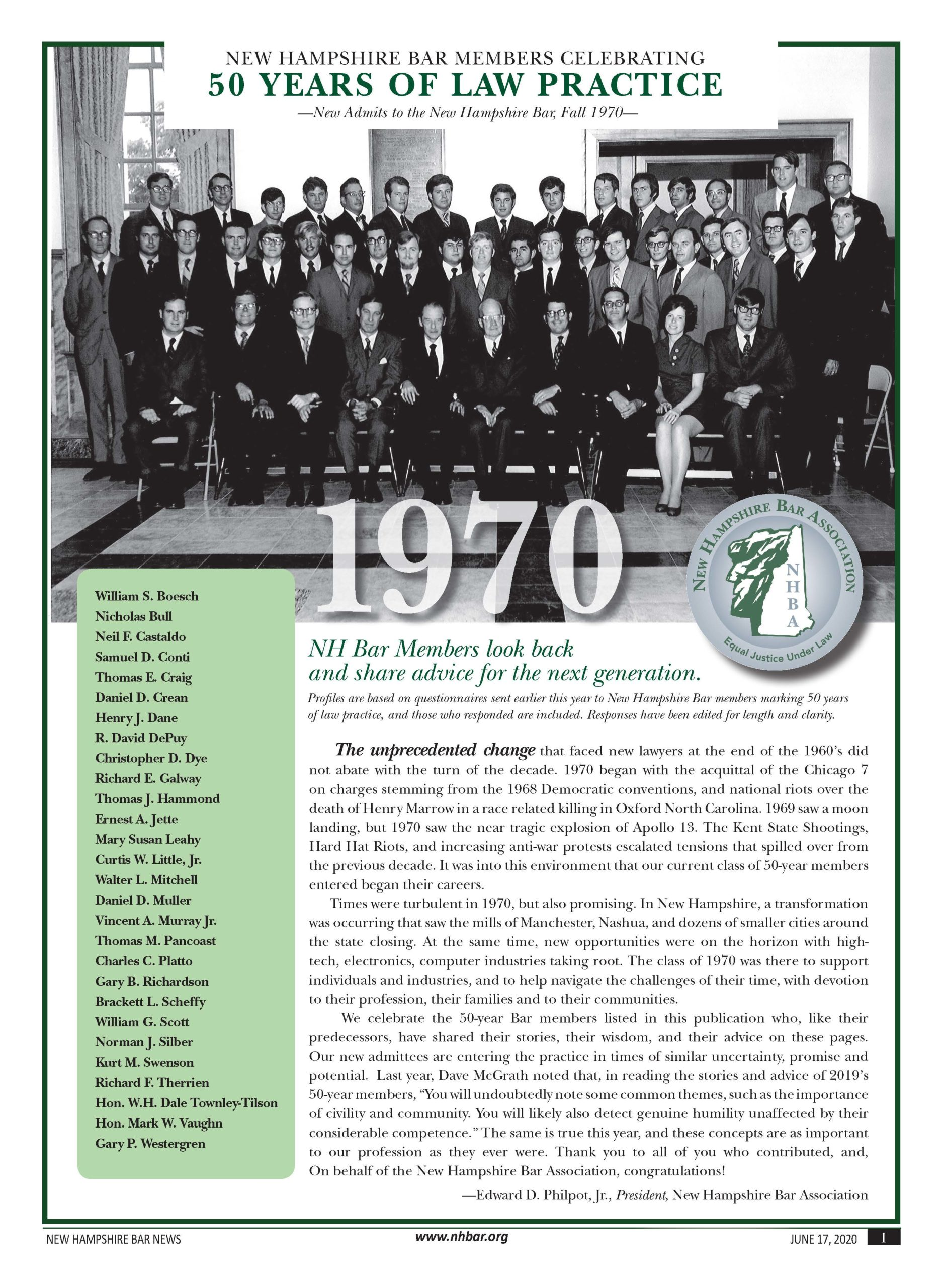 50 Years of Practice – Class of 1970